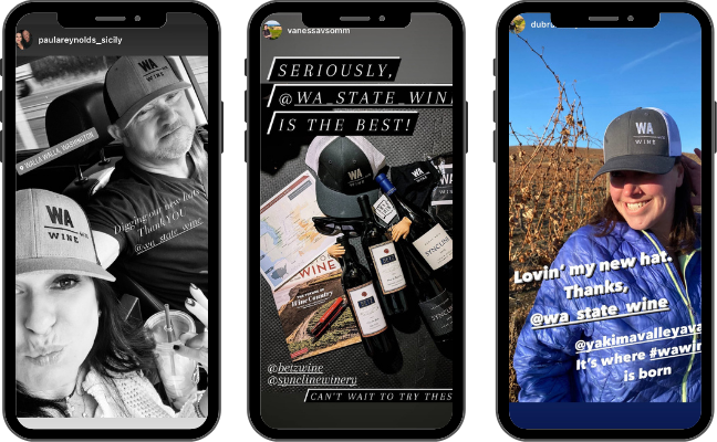 Three images of mobile phone screens with images of people wearing or showing WA Wine hats.