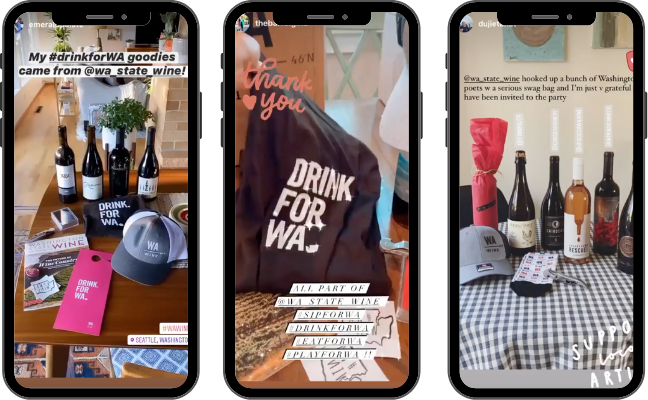 Three images of mobile phone screens with images of wine bottles and Drink for WA branded items.