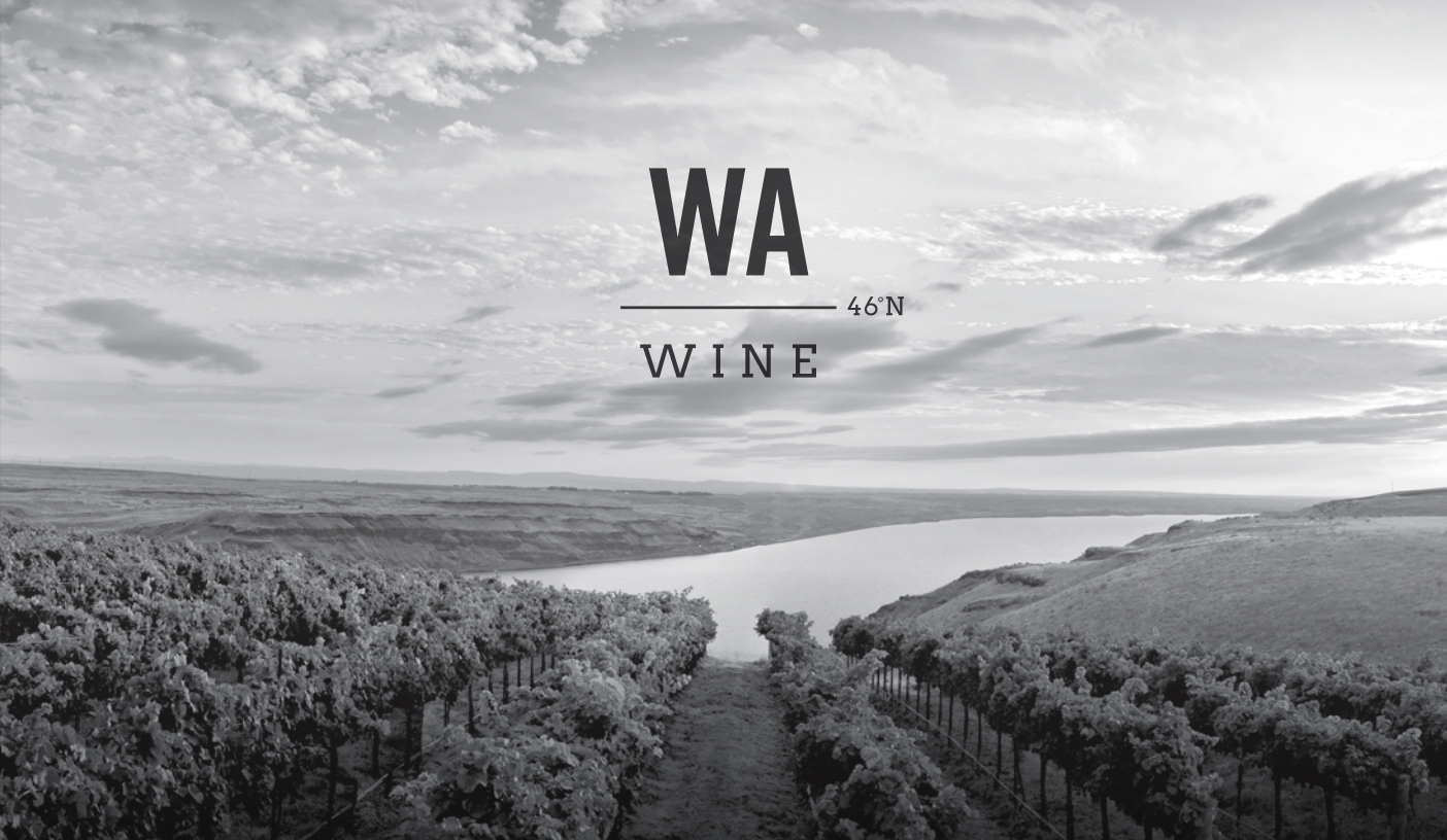black and white image of a vineyard with a broad river in the background, with the WA Wine logo in black overlaid the image.