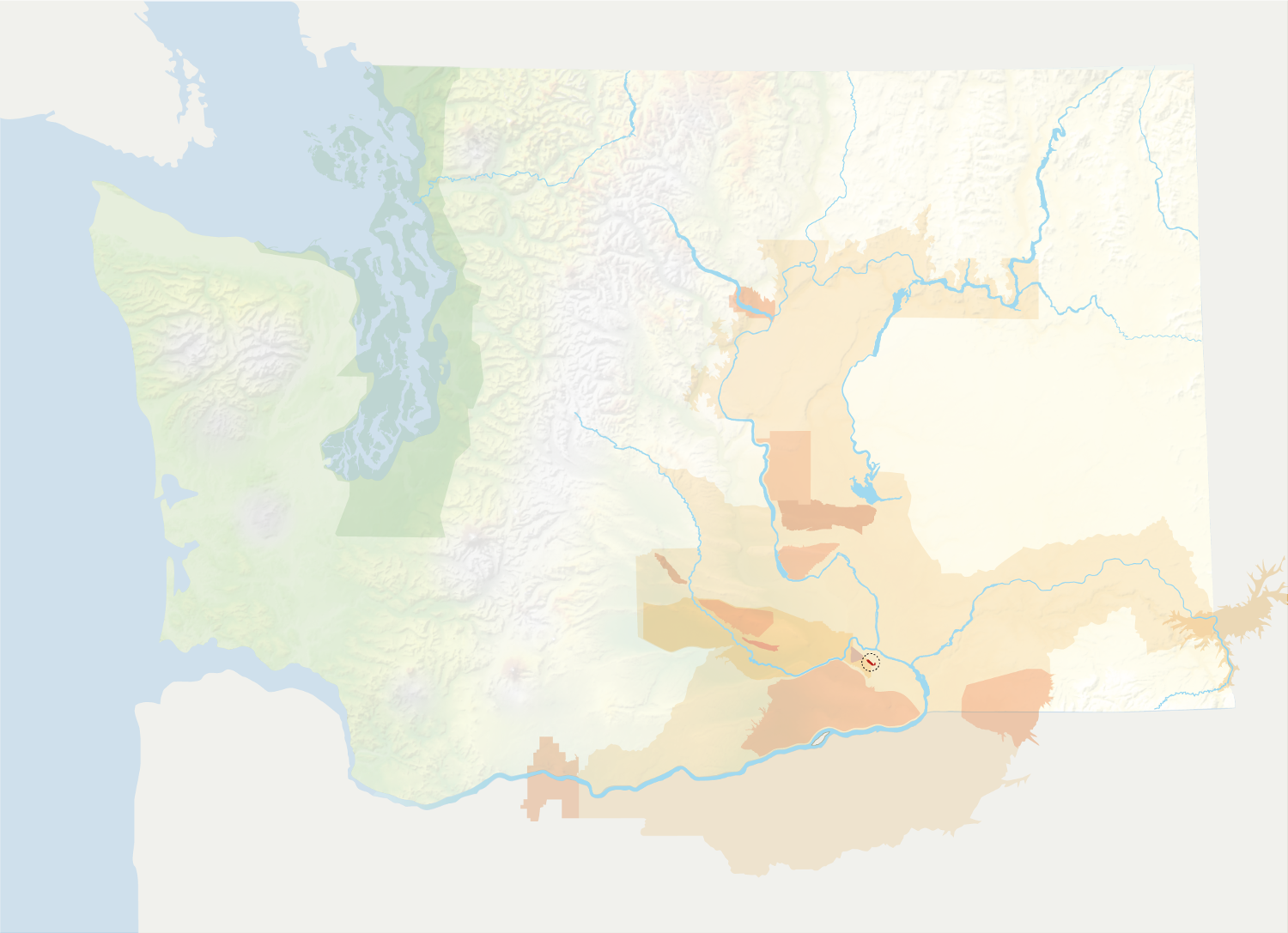 Map of Washington with the Candy Mountain AVA in red, surrounded by the rest of the AVAs in muted greens and oranges.