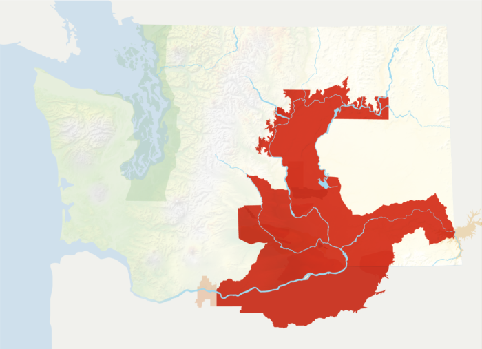 Map of Washington with the Columbia Valley AVA in red, surrounded by the rest of the AVAs in muted greens and oranges.