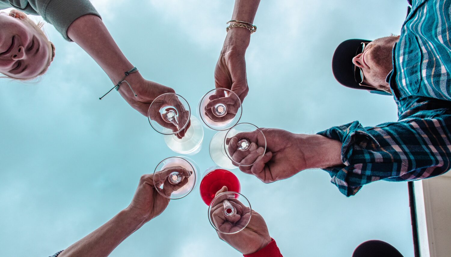 Five hands holding glasses of wine are held together and viewed from below. The background is a pale blue sky.
