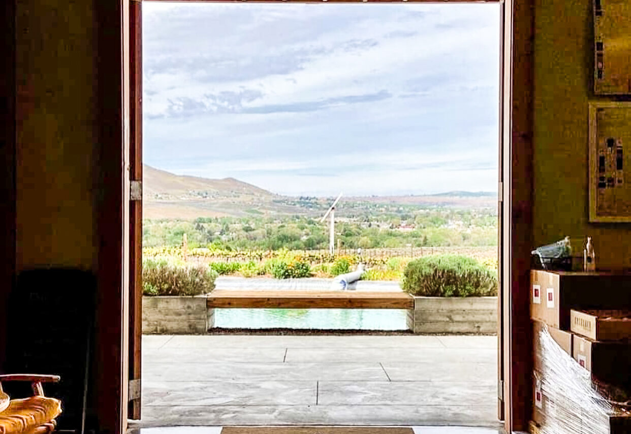 View through an open doorway looking out toward a wooden bench, a small pool, grape vines, shrubs, and soft hills in the distance. Sky above is light blue with streaky clouds.