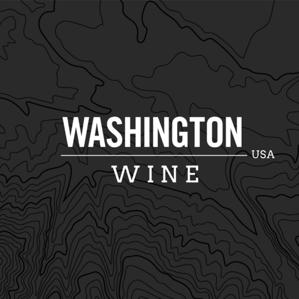 Logo for Washington Wine, white lettering on a black background with dark topography lines.
