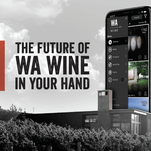 """Black and white image of a modern building with grape vines in the foreground. A mobile phone is pictured on the left side of the image, showing the WA Wine app. Text overlay reads: """"The future of WA Wine in your hand."""""""
