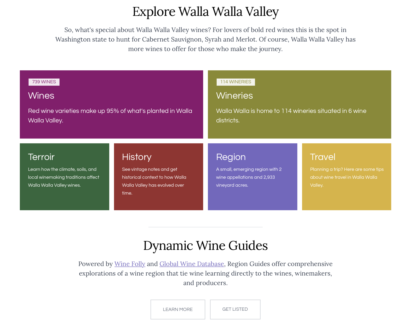 """A set of brightly colored blocks with text, with a title over them of """"Explore Walla Walla Valley"""""""