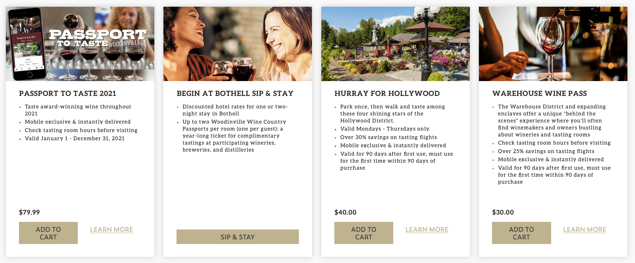 """A set of four images of wine glasses, women drinking wine, an outdoor patio, and a wine glass being filled with wine, with text below, reading """"A Passport to Taste 2021,"""" """"Begin at Bothell Sip & Stay,"""" """"Hurray for Hollywood,"""" and """" Warehouse Wine Pass."""""""