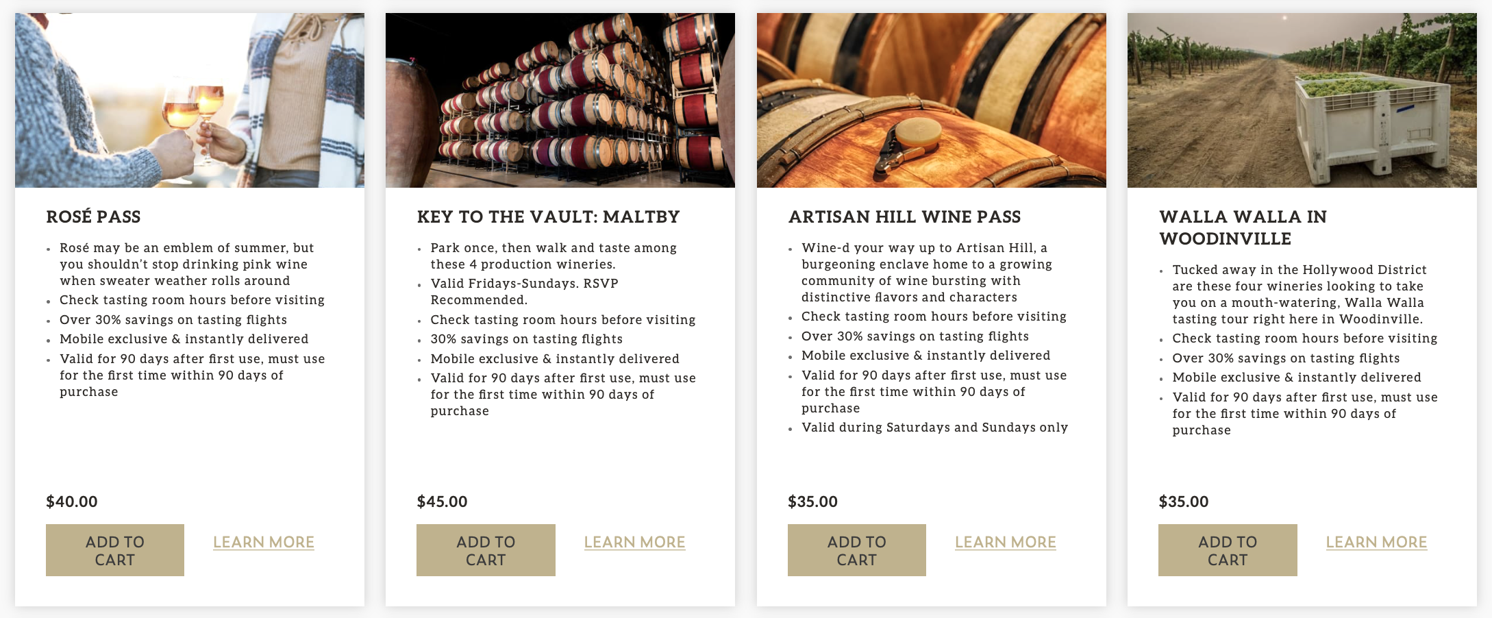 """A set of four images of people holding wine glasses with rose, stacks of wine barrels, a close-up image of wine barrel, and a bin of green grapes in a vineyard, with text below, reading """"Rose Pass,"""" """"Key to the Vault,"""" """"Artisan Hill Wine Pass,"""" and """"Walla Walla in Woodinville."""""""