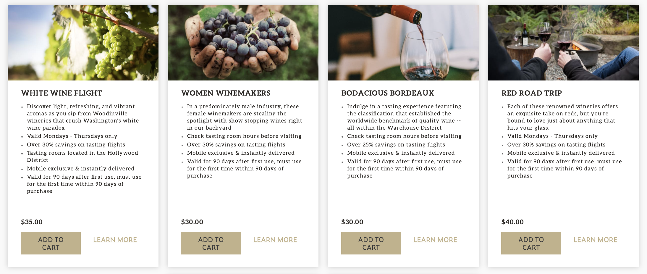 """A set of four images of green wine grapes in the sun, hands holding red grapes, red wine being poured into a glass, and two people cheersing with glasses full of red wine in front of fire, with text below, reading """"White Wine Flight,"""" """"Women Winemakers,"""" """"Bodacious Bordeaux,"""" """"Red Road Trip."""""""