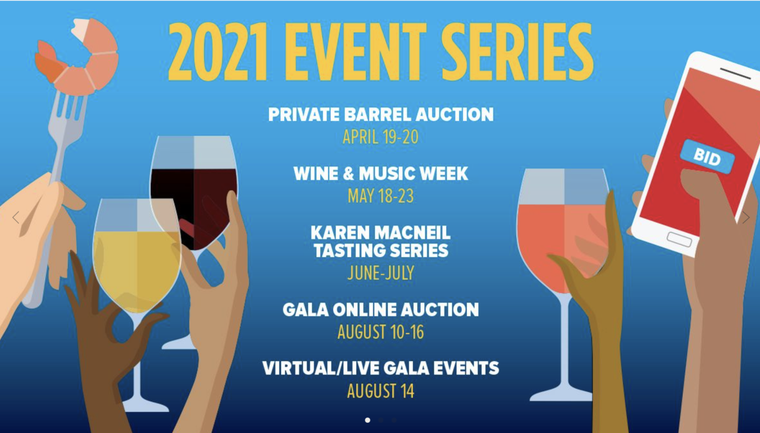 """A poster for events, titled """"2021 Events Series."""" The image is blue with white text and illustrated hands holding glasses of wine."""