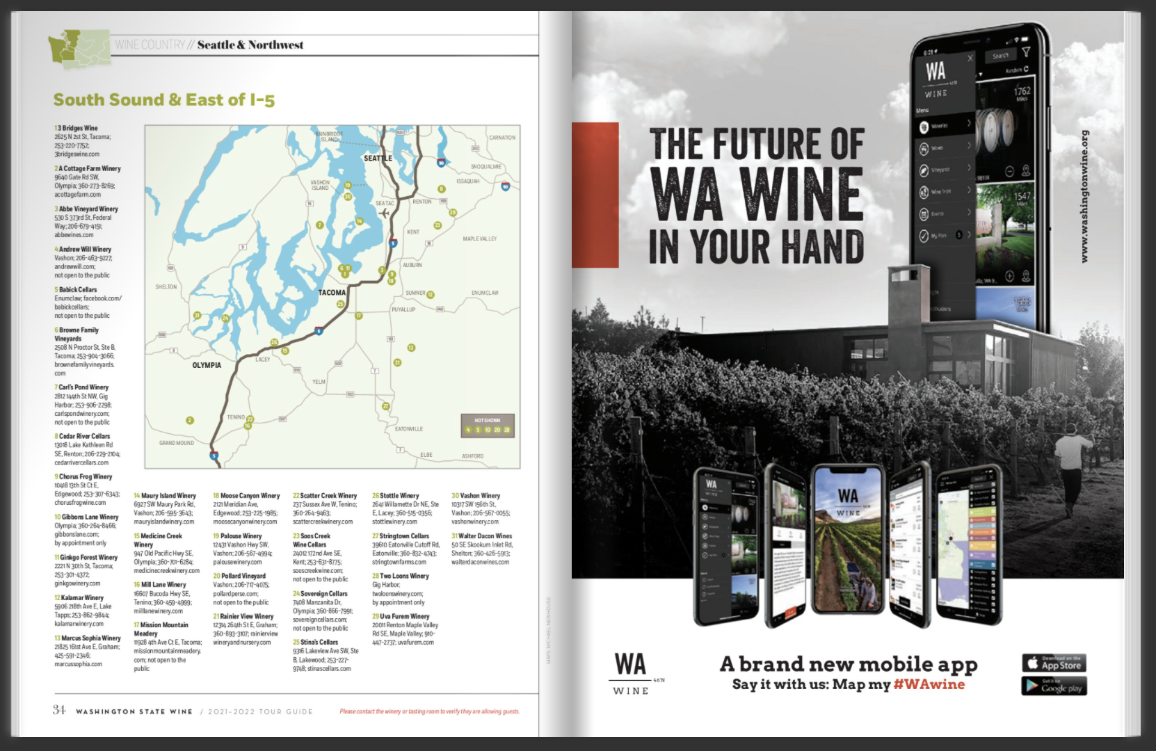 Two pages from a magazine, one of listings with a map of Olympia, Tacoma, and Seattle and the other of a black and white image of a modern building and a mobile phone overlaid above it.