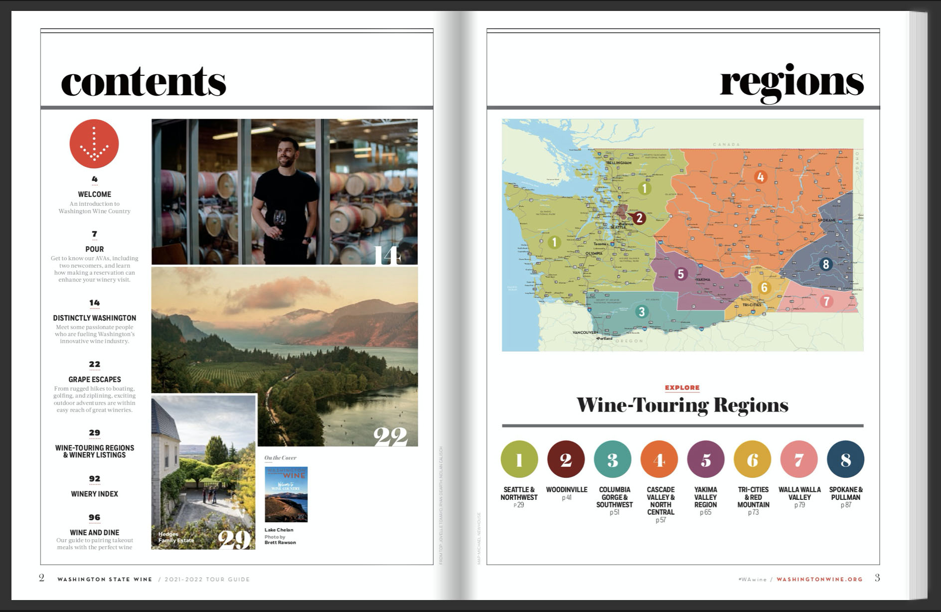 Two-fold of a magazine with Contents and Regions at the top of each page. The pages show photos of landscapes and a person in a barrel room, and a map of Washington.