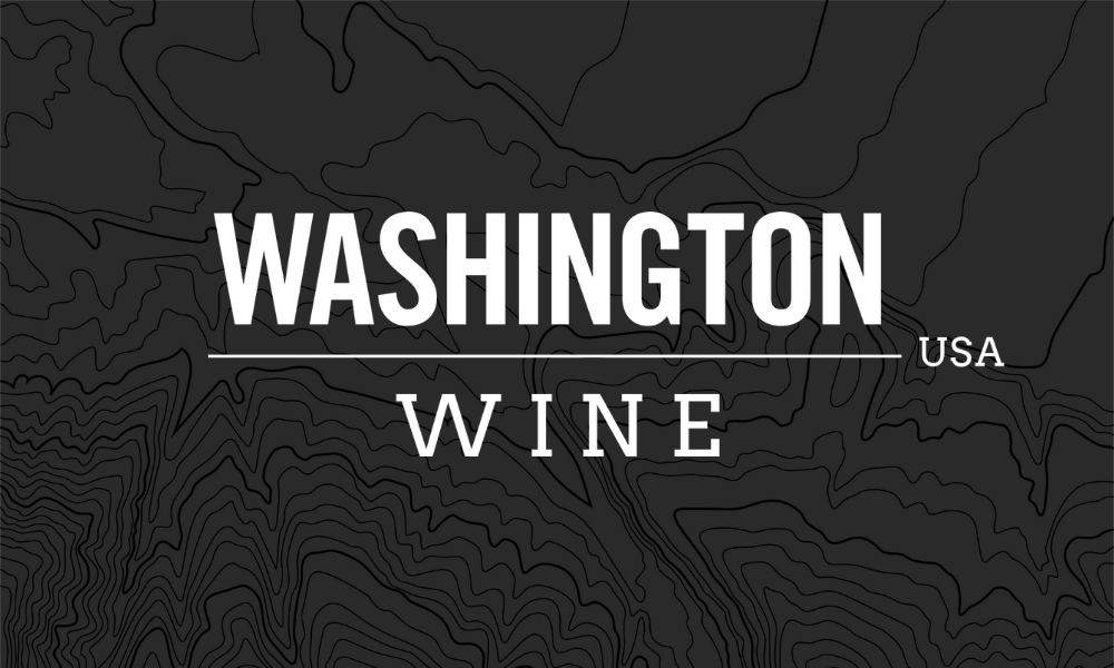 Logo for Washington Wine, with white lettering and black background with dark topographic lines