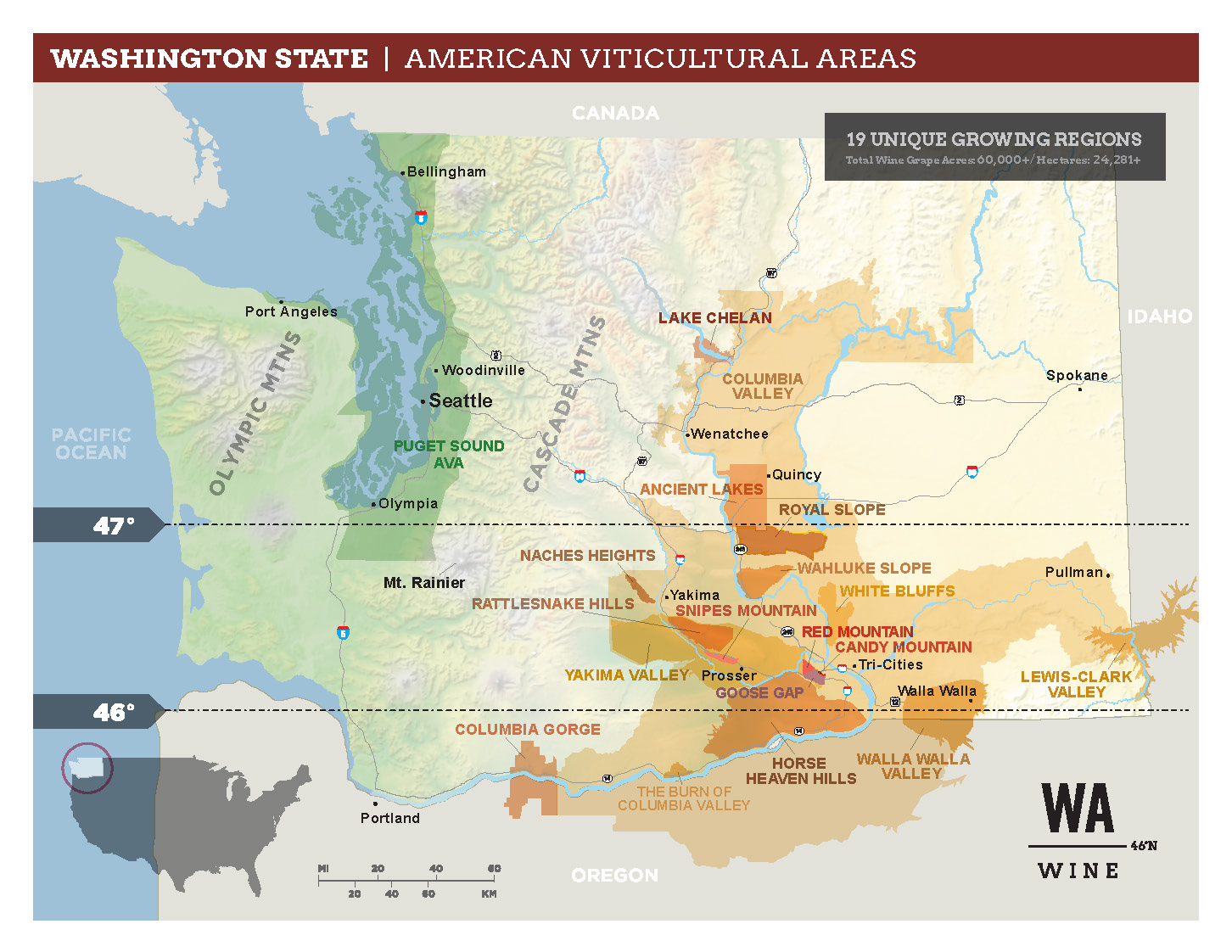 map of the State of Washington with the 19 American Viticultural Areas (AVAs) in oranges and green, with the names of the AVAs overlaid.