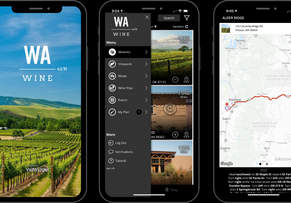 Three images of a mobile phone with WA wine logo over green vineyards with a blue sky, the categories of the app, and a map view.