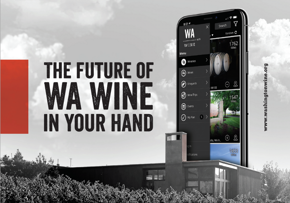 """Black and white image of modern building with rows of grape vines in front. A mobile phone with images from the WA Wine app is above the building. Text overlay reads """"The future of WA Wine in your hand."""""""