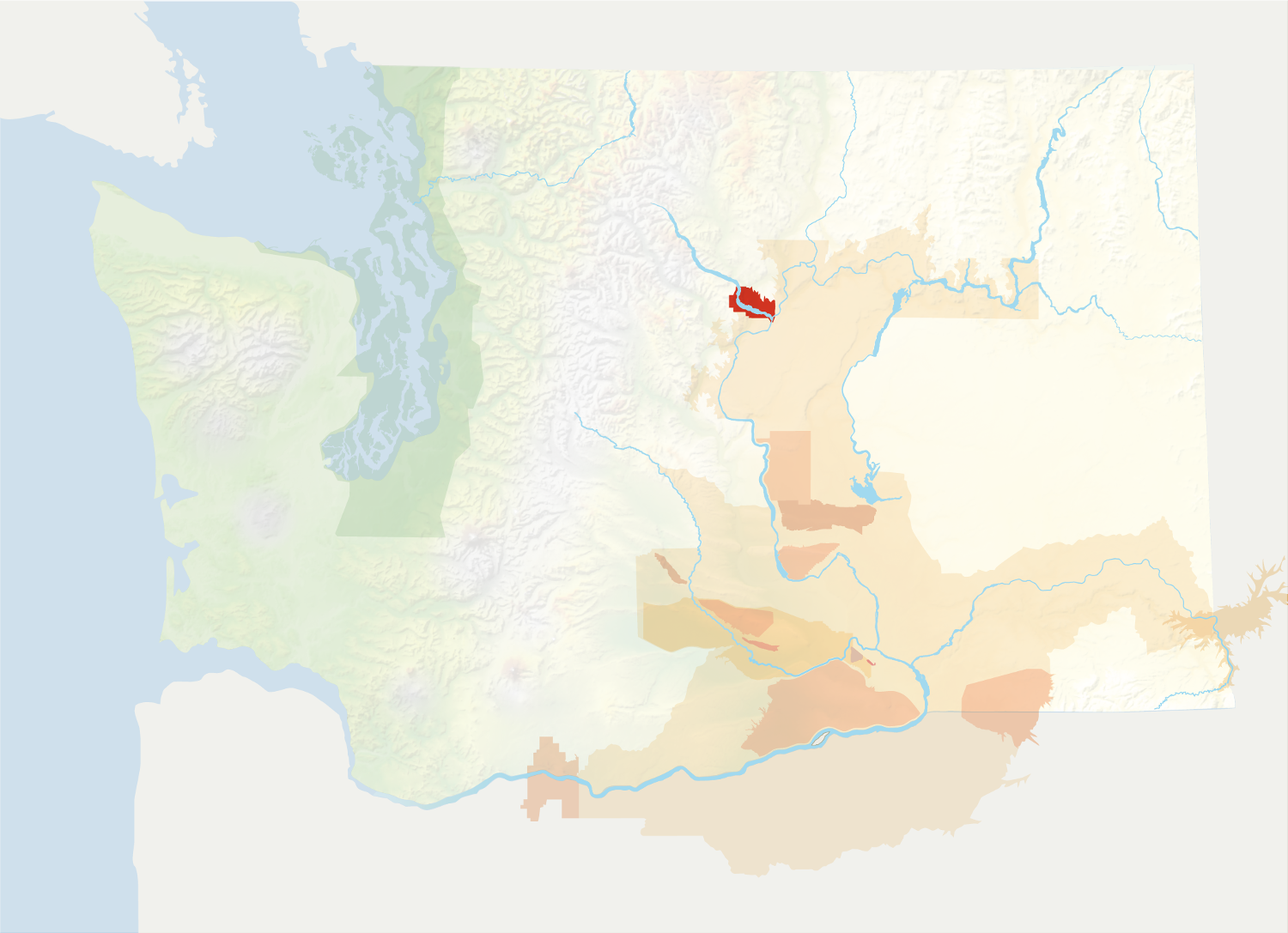 Map of Washington with the Lake Chelan AVA in red, surrounded by the rest of the AVAs in muted greens and oranges.