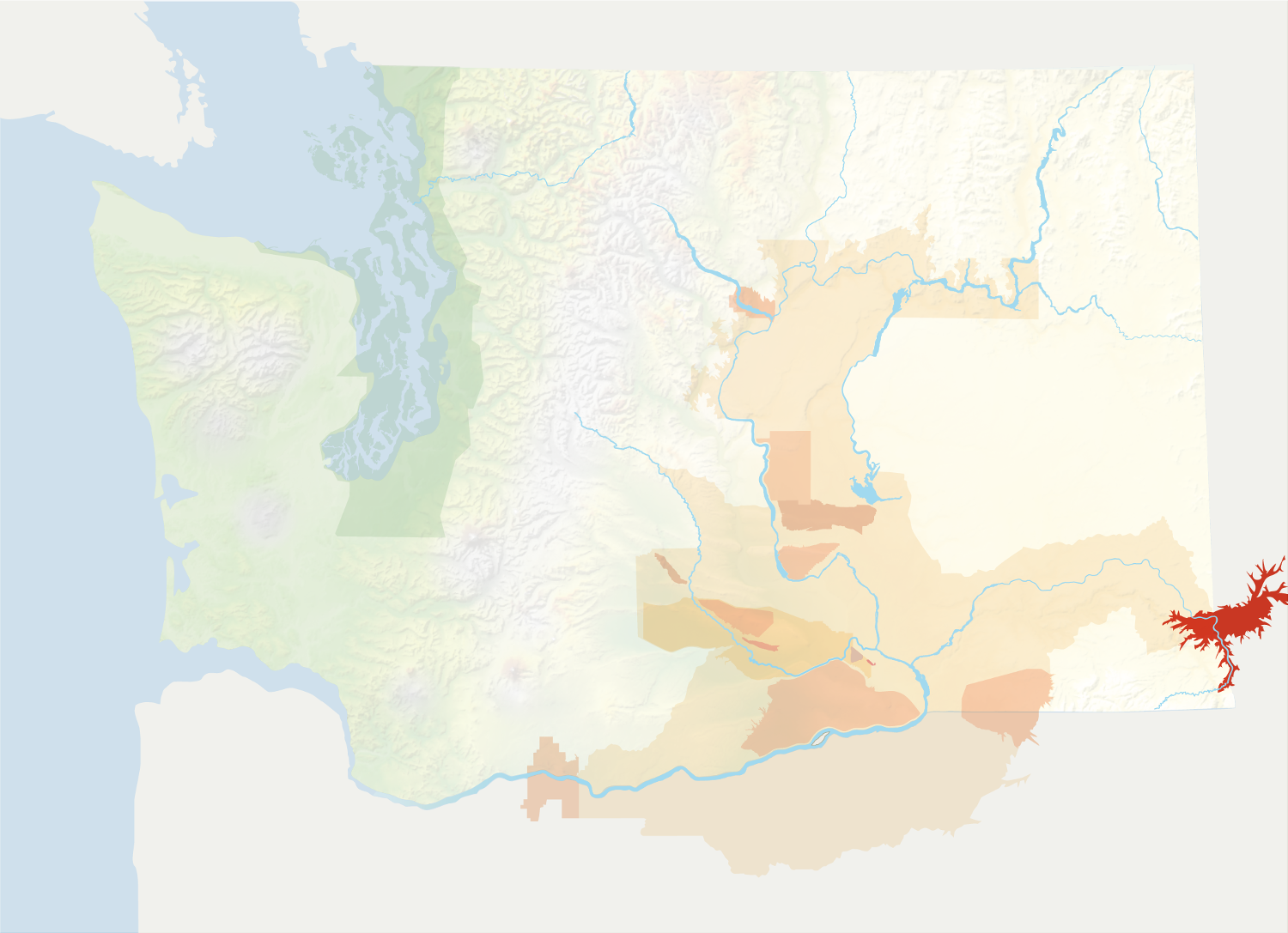 Map of Washington with the Lewis-Clark Valley AVA in red, surrounded by the rest of the AVAs in muted greens and oranges.