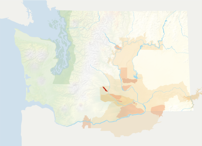 Map of Washington with the Naches Heights AVA in red, surrounded by the rest of the AVAs in muted greens and oranges.
