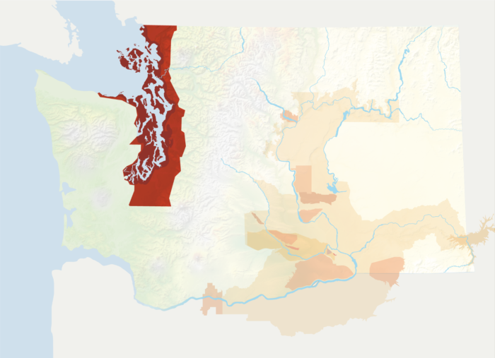 Map of Washington with the Puget Sound AVA in red, surrounded by the rest of the AVAs in muted greens and oranges.