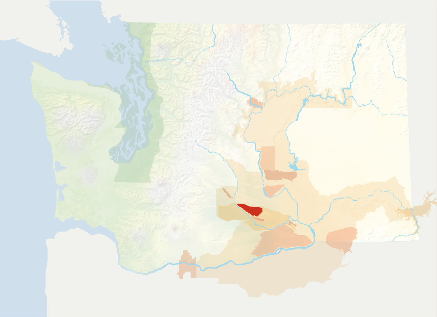 Map of Washington with the Rattlesnake Hills AVA in red, surrounded by the rest of the AVAs in muted greens and oranges.
