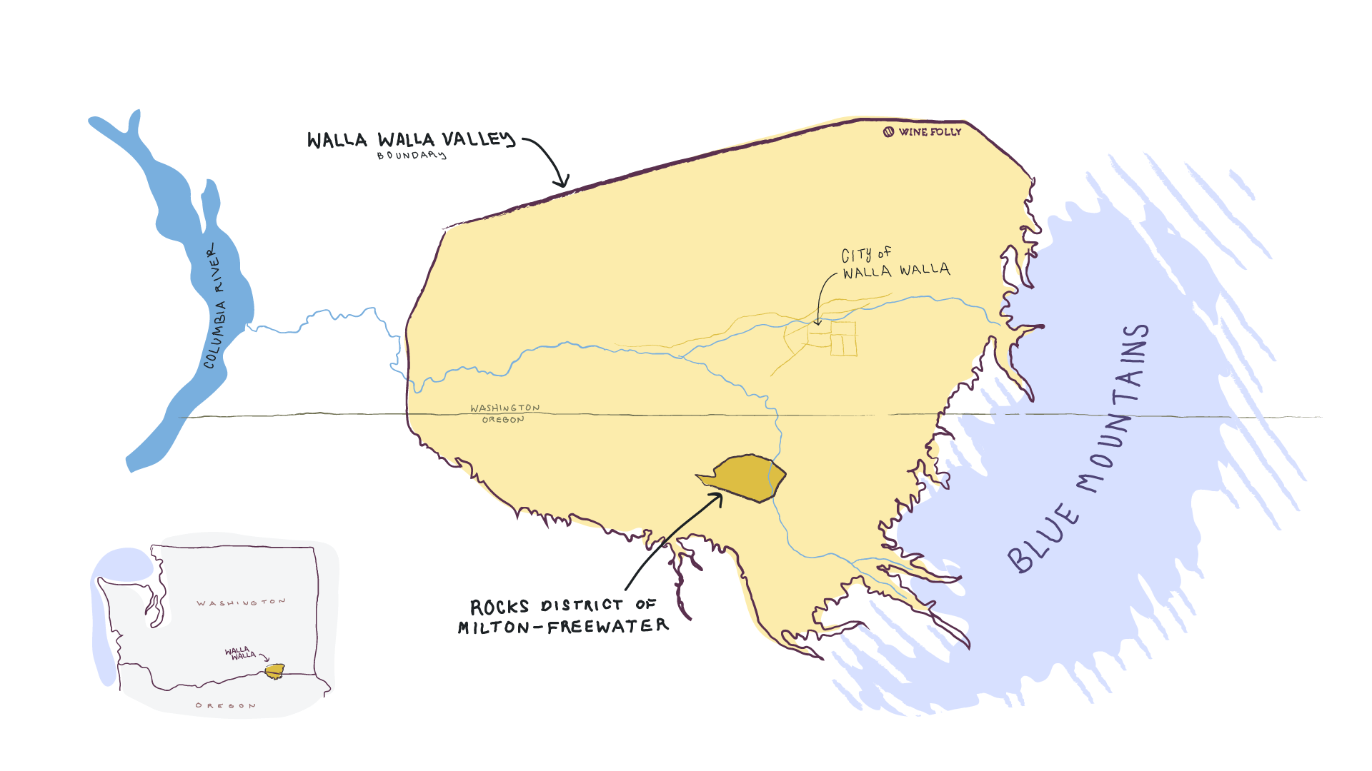 A drawing-style yellow and blue map of  the Walla Walla Valley, showing the Rocks District and Blue Mountains.