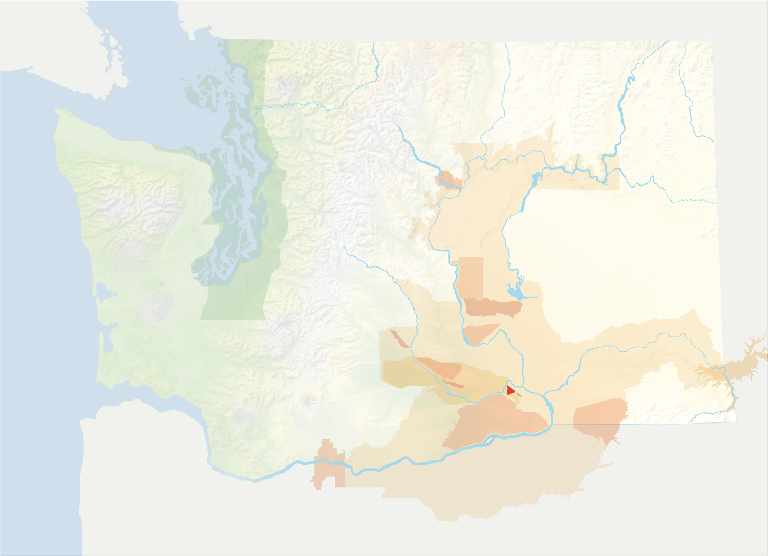 Map of Washington with the Red Mountain AVA in red, surrounded by the rest of the AVAs in muted greens and oranges.