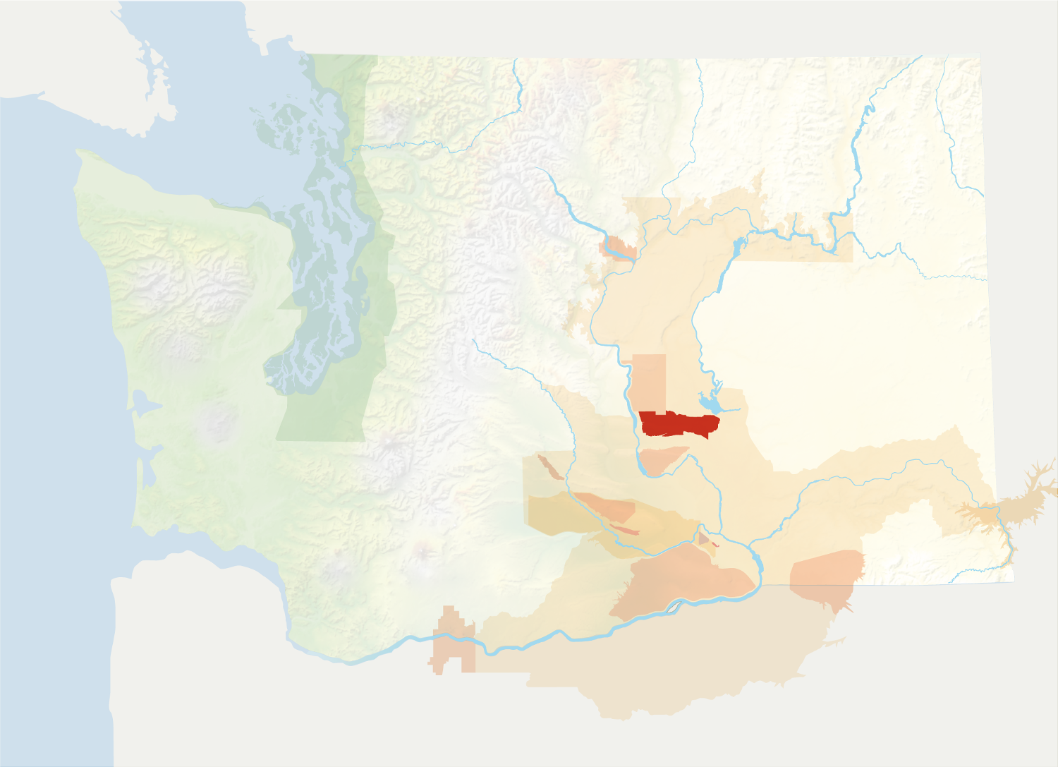 Map of Washington with the Royal Slope AVA in red, surrounded by the rest of the AVAs in muted greens and oranges.