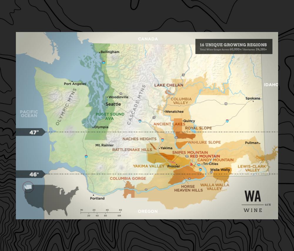 map of Washington with it's AVAs
