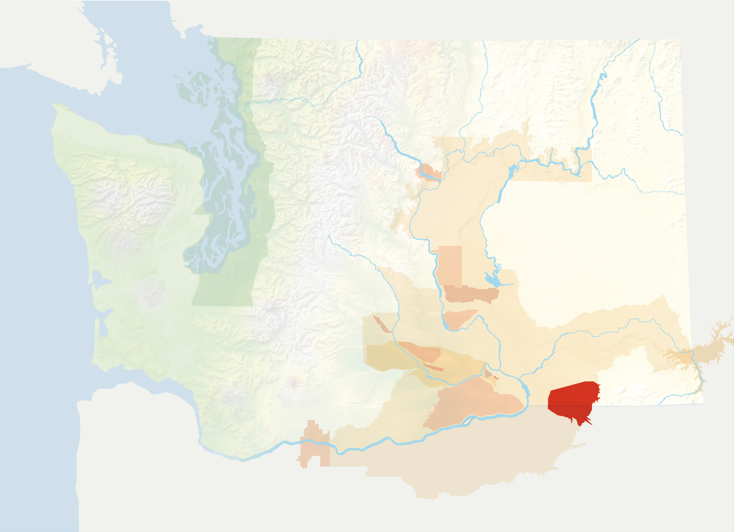 Map of Washington with the Walla Walla Valley AVA in red, surrounded by the rest of the AVAs in muted greens and oranges.