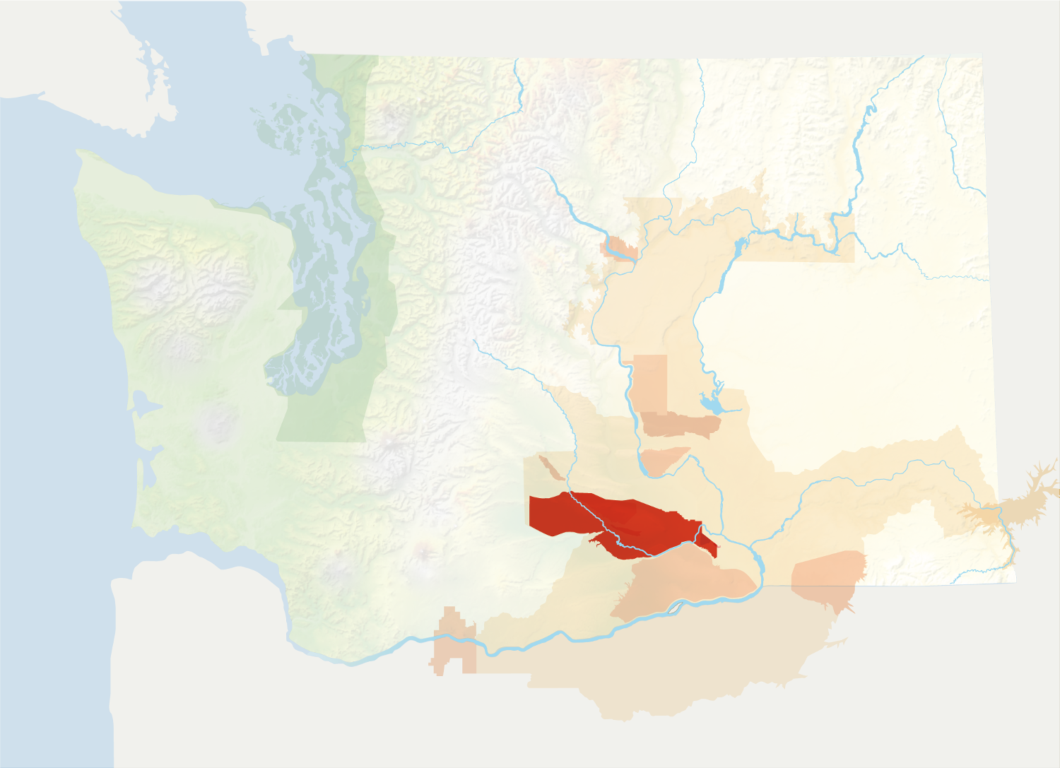 Map of Washington with the Yakima Valley AVA in red, surrounded by the rest of the AVAs in muted greens and oranges.