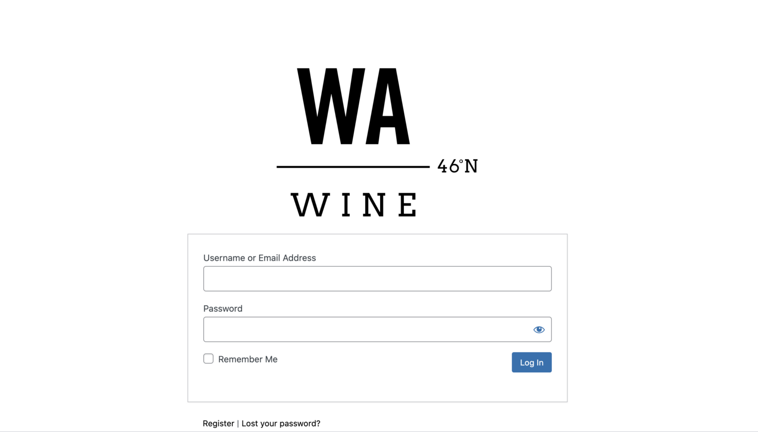 the login screen for the WA Wine Industry Portal