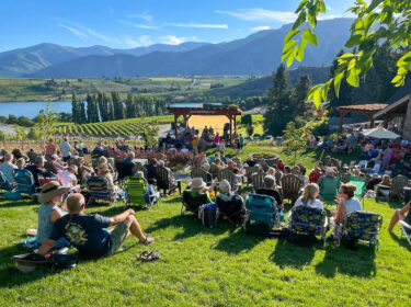people sit in lawn chairs on bright green grass facing a stage with musicians, with green grape vines behind. Blue mountains are in the background.